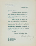 Autographs:U.S. Presidents, Woodrow Wilson Typed Letter Signed...