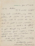 Autographs:U.S. Presidents, Theodore Roosevelt Autograph Letter Signed...