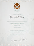 "Autographs:U.S. Presidents, Richard Nixon and Pat Nixon Signed ""Nixon Library Certificate ofMerit""...."
