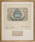 Autographs:Non-American, George IV Clipped Signature and Coronation Pass....