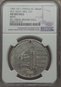 20th Century Tokens and Medals, 1901 MS Pan American / W.F. Doll Mfg. Co., NY-L-TM95A -- Bent -- NGC Details. AU, Holed. Aluminum. 38 mm. A bit scuffed wit...