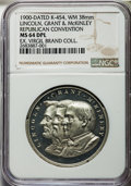 U.S. Presidents & Statesmen, 1900 Republican National Convention Medal (Lincoln, Grant &McKinley), K-454, MS64 Deep Prooflike NGC. White metal. 38 mm. S...