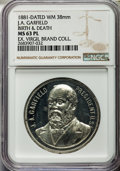U.S. Presidents & Statesmen, 1881 James A. Garfield Birth & Death Medal, MS63 Prooflike NGC.White metal. 38 mm. Razor-sharp definition is evident on the...