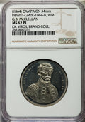 U.S. Presidents & Statesmen, (1864) G.B. McClellan Campaign Medal, DeWitt-GMcC-1864-8, MS62Prooflike NGC. White metal. 34 mm. Dies by George Lovett. The...