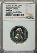Masonic, 1834 MS General Lafayette / Masonic Symbol MS63 Prooflike NGC.White metal. 29 mm. Harzfeld's Series. Bright and deeply ref...