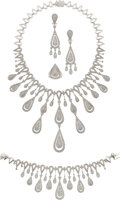 Estate Jewelry:Suites, Diamond, White Gold Jewelry Suite, Montega by Elie Chatila. ...(Total: 4 Items)
