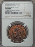 U.S. Presidents & Statesmen, 1876 Rutherford B. Hayes Campaign Medal, DeWitt-RBH-1876-5, MS64Red and Brown NGC. Copper. 31 mm. Holed at 12 o'clock. The ...
