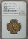 U.S. Presidents & Statesmen, (1852) Winfield Scott Campaign Medal, DeWitt-WS-1852-13, AU50 NGC.Holed at 11 O'clock. Brass, 26 mm. A lightly worn, lightl...