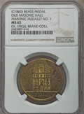 Masonic, Undated (c. 1860) Old Masonic Hall, Masonic Medalet No 1, MS62 NGC.Brass. Bright yellow-green surfaces show significant spo...