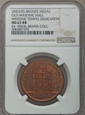 Masonic, 1875 MS Old Masonic Hall Obverse / Masonic Temple DedicationReverse MS63 Red and Brown NGC. Almost all the original mint r...