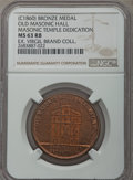 Masonic, 1875 MS Old Masonic Hall Obverse / Masonic Temple DedicationReverse MS63 Red and Brown NGC. Significant original red remai...