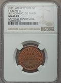 Civil War Merchants, (1861-65) MS A.J. Henning, Die Sinker, New York, NY, F-NY-630AH-1a,MS64 Red and Brown NGC. Approximately half of the origi...