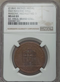 Masonic, Undated (c. 1860) MS Old Masonic Hall, Masonic Medalet No 1, MS64Red and Brown NGC. Bronze. Augustus Sage, publisher. Glow...