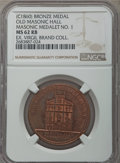 Masonic, Undated (c. 1860) MS Old Masonic Hall, Masonic Medalet No 1, MS62Red and Brown NGC. The cherry-red surfaces are only sligh...