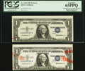Error Notes:Shifted Third Printing, Fr. 1619 $1 1957 Silver Certificate. PCGS Gem New 65PPQ;. Fr. 1619 $1 1957 Silver Certificate. Uncirculated.. ... (Total: 2 notes)