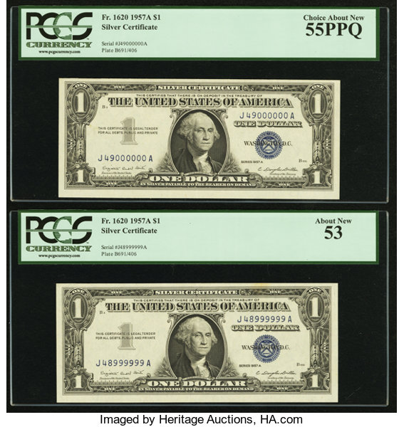 Fancy Serial Number Fr 1620 1 1957a Silver Certificates Lot