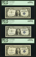Small Size:Silver Certificates, First and Last Pack $1 Silvers of a Series PCGS Graded.. ... (Total: 3 notes)