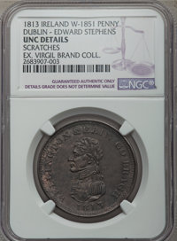 1813 MS Irish Penny, Dublin, Edward Stephens W-1851 -- Scratched -- NGC Details. Unc. Copper, 34 mm. Sharply defined wit...
