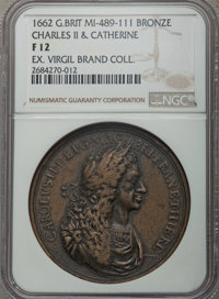 1662 MS Charles II & Catherine Marriage Medal, MI I:489, Eimer-111, Fine 12 NGC. Bronze. Opposing portraits of the b...