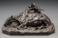 Sculpture, Manner of Yevgeny Lansere (Russian, 1875-1946). Soldier in ambush position with recumbent horse and rifle. Bronze with b...