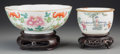 Asian:Chinese, Two Chinese Porcelain Bowls on Stands. Marks to larger: fourcharacter mark. 2-5/8 inches high x 6-5/8 inches diameter (6.7 ...(Total: 2 Items)