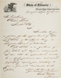 Autographs:Statesmen, [Abraham Lincoln]. Letter to Lincoln from Illinois Governor RichardYates....