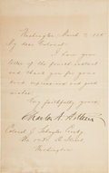 Autographs:U.S. Presidents, Chester A. Arthur Letter Signed....