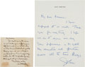 Autographs:Authors, James Whitcomb Riley Autograph Letter Signed.... (Total: 2 Items)