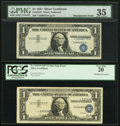 Error Notes:Shifted Third Printing, Fr. 1619* $1 1957 Silver Certificates. PMG Choice Very Fine 35 and PCGS Very Fine 20.. ... (Total: 2 notes)