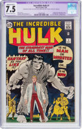 Silver Age (1956-1969):Superhero, The Incredible Hulk #1 (Marvel, 1962) CGC Apparent VF- 7.5 Moderate(B-3) Off-white to white pages....