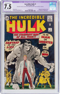 The Incredible Hulk #1 (Marvel, 1962) CGC Apparent VF- 7.5 Moderate (B-3) Off-white to white pages