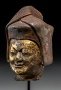 Asian:Other, A Tibetan Gilt Copper Alloy Head of Sakya Lama with Stand, 17thcentury. 6 inches high (15.2 cm) (excluding stand). ...