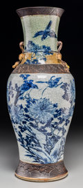 Asian:Chinese, A Large Chinese Crackle Glazed Blue and White Porcelain Vase.Marks: Four-character mark incised to base. 24-1/4 inches high...