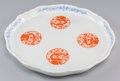 Asian:Chinese, A Chinese Enameled Porcelain Tray with Dragon Roundels, QingDynasty, 19th century. 11-1/2 inches wide (29.2 cm). ...