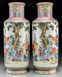 A Large Pair of Chinese Famille Rose Porcelain Vases, Republic Period, circa 1912-1949 Marks: Four-character Qianl