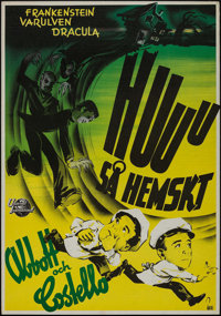 "Abbott and Costello Meet Frankenstein (Universal International, 1948). Swedish One Sheet (27.5"" X 39.25""). Hor..."