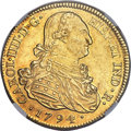 Colombia, Colombia: Charles IV gold 8 Escudos 1794 P-JF AU55 NGC,...