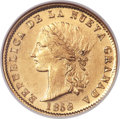 Colombia, Colombia: Republic gold 10 Pesos 1858-POPAYAN MS64 NGC,...