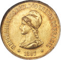 Brazil, Brazil: Republic gold 20000 Reis 1897 MS62 NGC,...