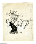 "Original Comic Art:Covers, Paul Fung Jr. (attributed) - Dagwood #21 Cover Original Art(Harvey, 1952). Dagwood ""cowboy ups"" a little too high and comes..."