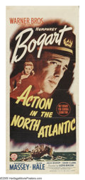 "Movie Posters:War, Action in the North Atlantic (Warner Brothers, 1943). AustralianDaybill (13"" X 30""). Humphrey Bogart stars in this WWII dra..."