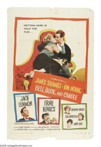 """Bell, Book and Candle (Columbia, 1958). One Sheet (27"""" X 41""""). Jimmy Stewart falls under the spell of Kim Nova..."""