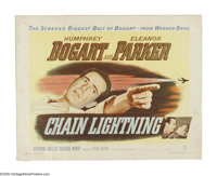 "Chain Lightning (Warner Brothers, 1949). Half Sheet (22"" X 28""). Humphrey Bogart and Eleanor Parker in an acti..."