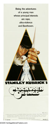 "A Clockwork Orange (Warner Brothers, 1971). Insert (14"" X 36""). In a future society, Alex and his Droogs spend..."