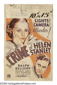 "The Crime of Helen Stanley (Columbia, 1934). Window Card (14"" X 22""). Depression-Era thriller featuring Ralph..."