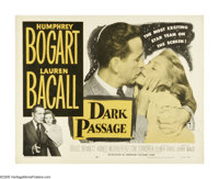 "Dark Passage (Warner Brothers, R-1956). Half Sheet (22"" X 28""). Film noir classic has Bogart playing a man con..."