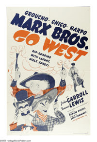 "Go West (MGM, R-1962). One Sheet (27"" X 41""). Con man S. Quentin Quayle (Groucho Marx) is headed out West to m..."