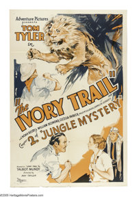 "Jungle Mystery (Universal, 1932). One Sheet (27"" X 41""). This vintage serial poster advertised ""The Ivory..."