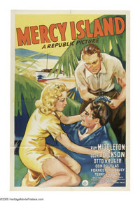 "Mercy Island (Republic, 1941). One Sheet (27"" X 41""). Jealousy and foul play are at hand in this drama set in..."