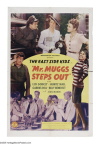 "Mr. Muggs Steps Out (Monogram, 1943). One Sheet (27"" X 41""). The East Side Kids come face to face with High So..."